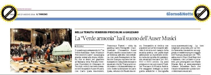 Il Tirreno 27 agosto 2014