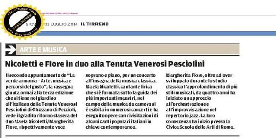 Il Tirreno 31 luglio 2014